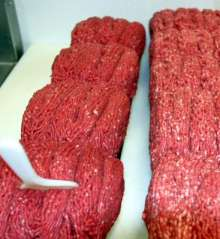 outdoor bbq catering fresh ground beef photo.